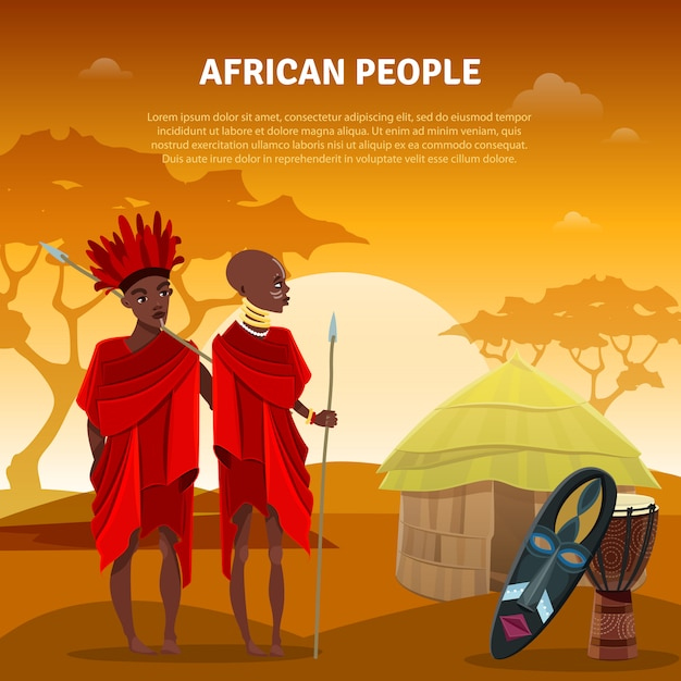 Povos africanos e cartaz liso da cultura Vetor grátis