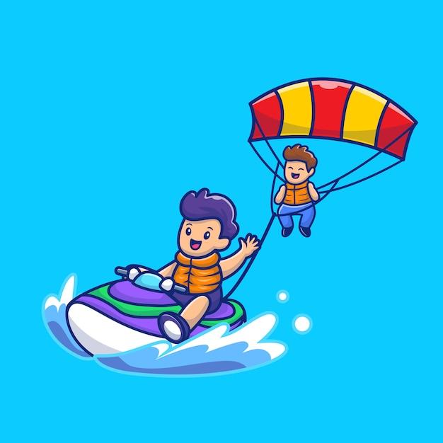 Povos bonitos que jogam o parapente com ilustração do ícone dos desenhos animados do barco a motor da velocidade. pessoas esporte ícone conceito isolado premium. estilo cartoon plana Vetor Premium