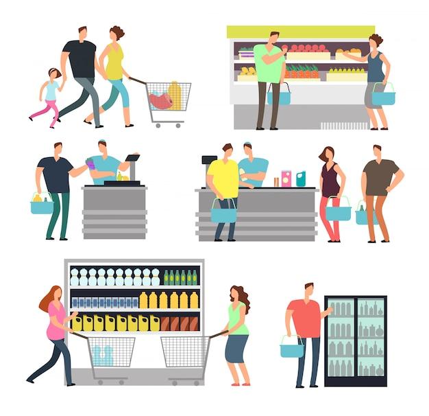 Povos da loja da compra no supermercado. compradores familiares e funcionários da loja no shopping Vetor Premium
