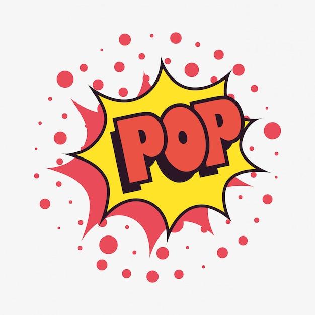 Pow comic speech bubble fundo de pontos de arte pop Vetor Premium