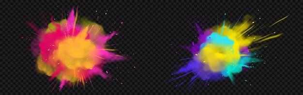 Powder holi pinta nuvens coloridas ou explosões, respingos de tinta, corante decorativo vibrante para feriado indiano tradicional isolado em um festival. ilustração em vetor 3d realista Vetor grátis