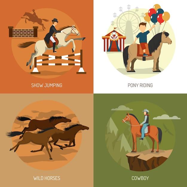 Praça de ícones de conceito de raças de cavalo Vetor grátis