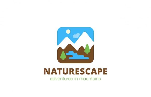Praça natureza paisagem viagens logotipo ícone plana. Vetor grátis
