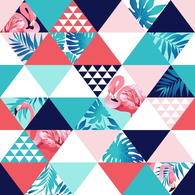 Praia basexotic trendy padrão sem costura, patchwork ilustrado floral Vetor Premium