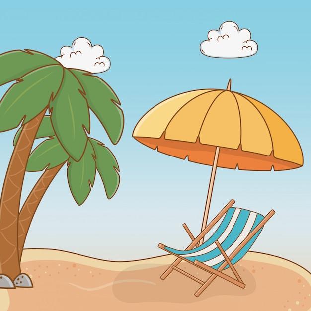 Praia com cadeira viagem cena de férias Vetor Premium
