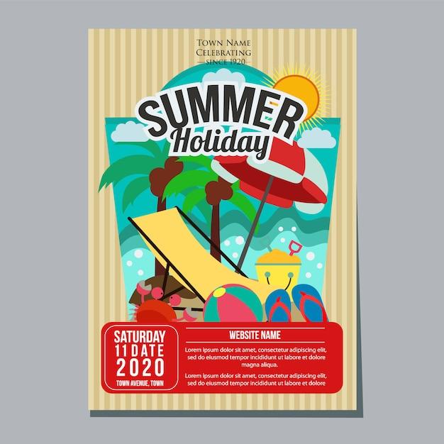 Praia de férias de verão relaxe ilustração em vetor modelo cartaz Vetor Premium