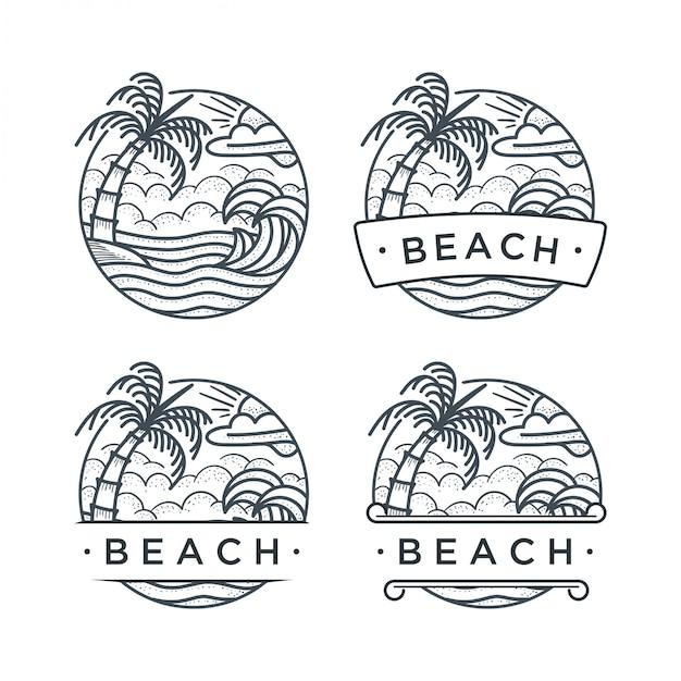 Praia de logotipo desenhado de mão Vetor Premium