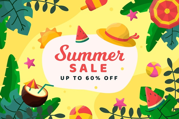 Praia de venda verão com fundo de cocktails Vetor grátis