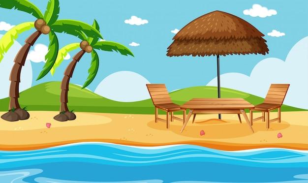 Praia de verão com cenário de coqueiros Vetor Premium