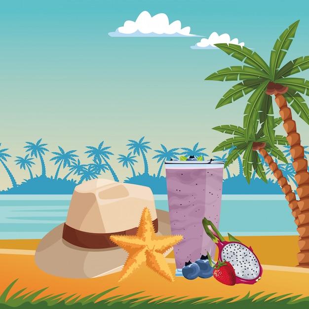 Praia de verão e desenhos animados de férias Vetor grátis