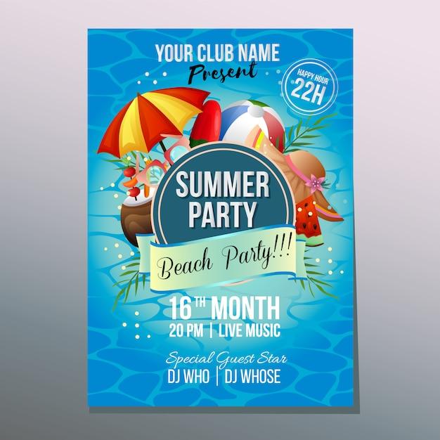 Praia de verão festa cartaz modelo férias guarda-chuva colorido praia Vetor Premium
