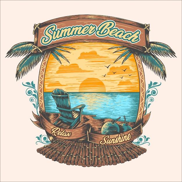 Praia de verão relaxar pôr do sol de coqueiro Vetor Premium