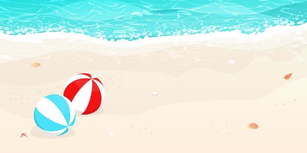 Praia de verão, vetor de bolas de praia Vetor Premium