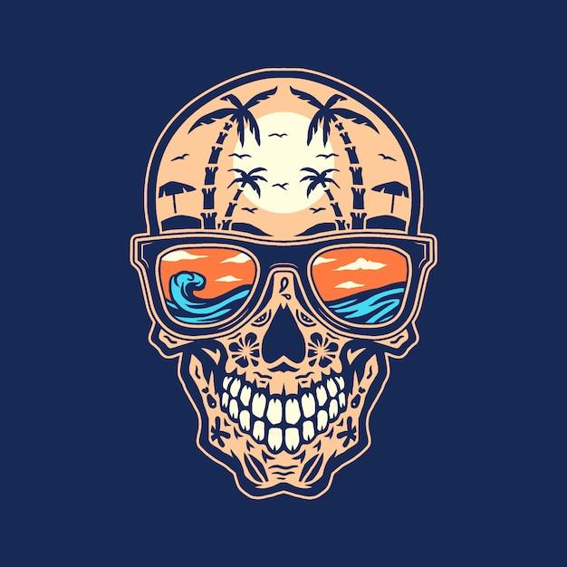 Praia do crânio, mão desenhada linha com cor digital Vetor Premium