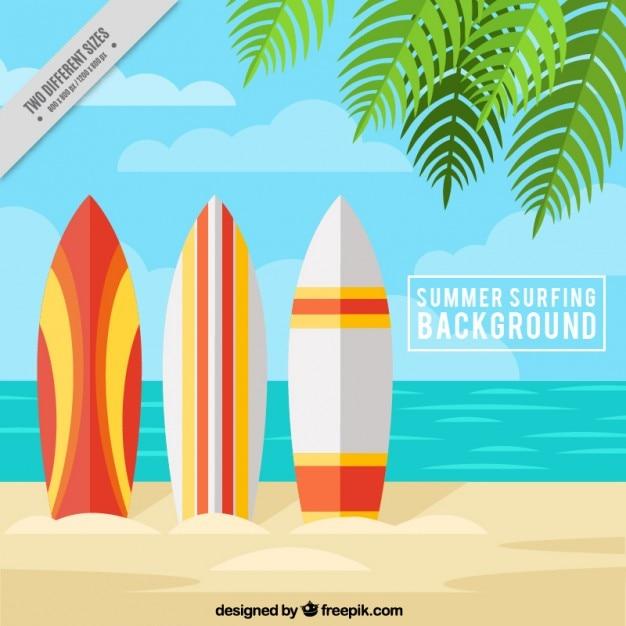 Praia do verão com pranchas de surf Vetor grátis