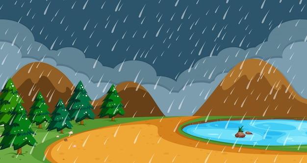 Praia, em, chuvoso, estação Vetor Premium