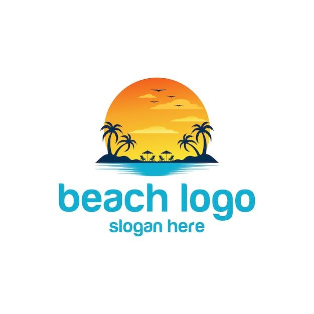 Praia logotipo vetores Vetor Premium