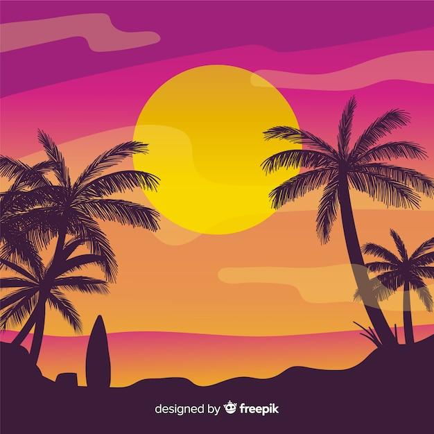 Praia, pôr do sol, paisagem, fundo Vetor grátis