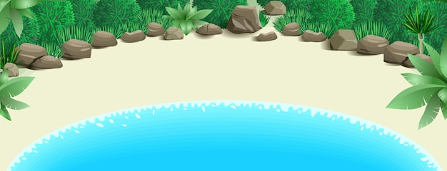 Praia tropical, com, baía Vetor Premium
