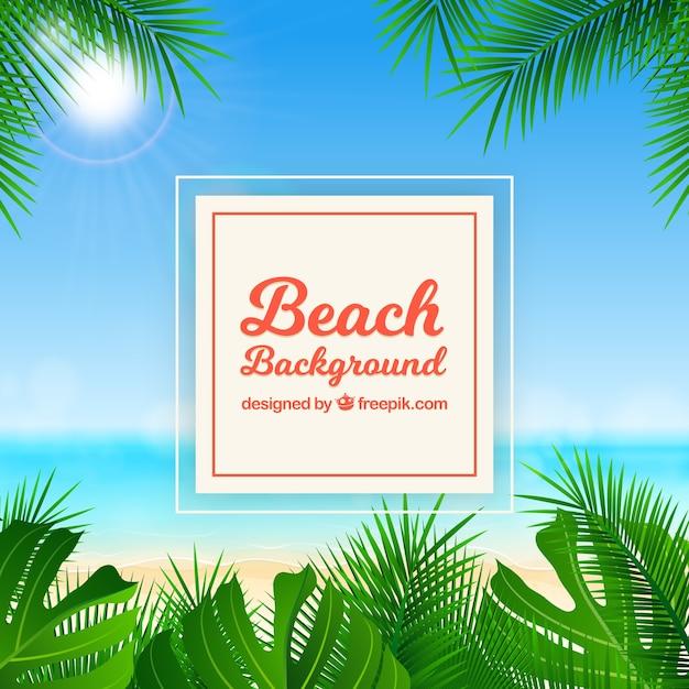Praia tropical com design realista Vetor grátis