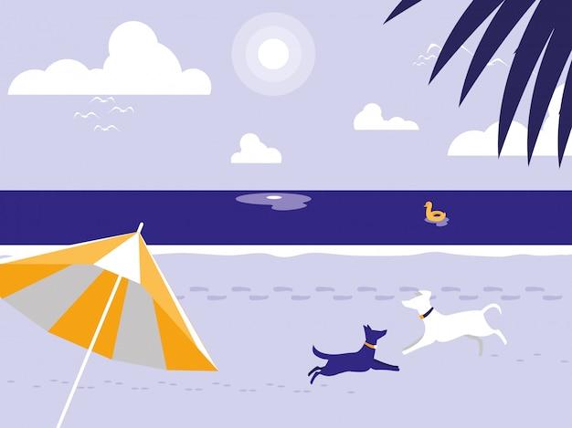 Praia tropical com mascote de cães e guarda-chuva Vetor Premium