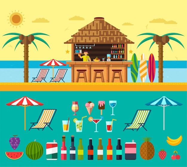Praia tropical com uma barra na praia, férias de verão na areia morna com água clara. conjunto de bebidas e frutas exóticas Vetor Premium