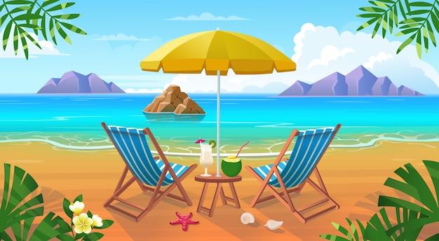Praia tropical de verão com espreguiçadeiras, mesa com coquetéis, guarda-chuva, montanhas e ilhas. Vetor Premium