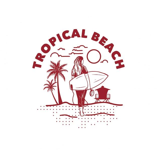 Praia tropical ilustração camiseta design mulher surfista poster vintage retrô Vetor Premium