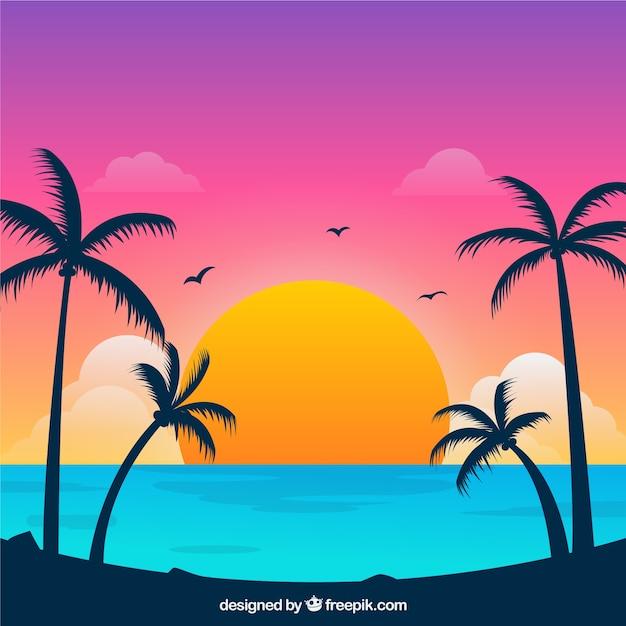 Praia tropical paradisíaca com lindo pôr do sol Vetor grátis
