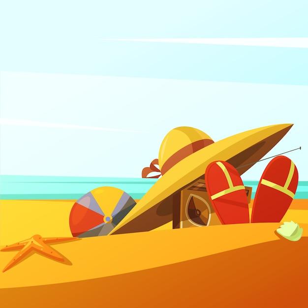 Praia usa fundo com rádio de bola de chapéu e chinelos Vetor grátis