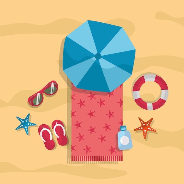 Praia verão turismo guarda-chuva toalha óculos de sol chinelos lifebuoy estrela do mar Vetor grátis