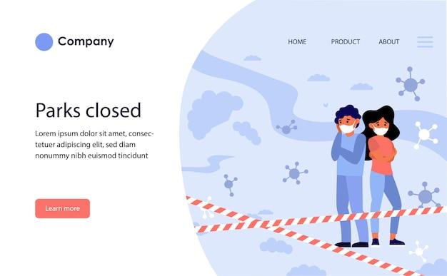 Praias públicas fechadas. modelo de site ou página de destino Vetor grátis