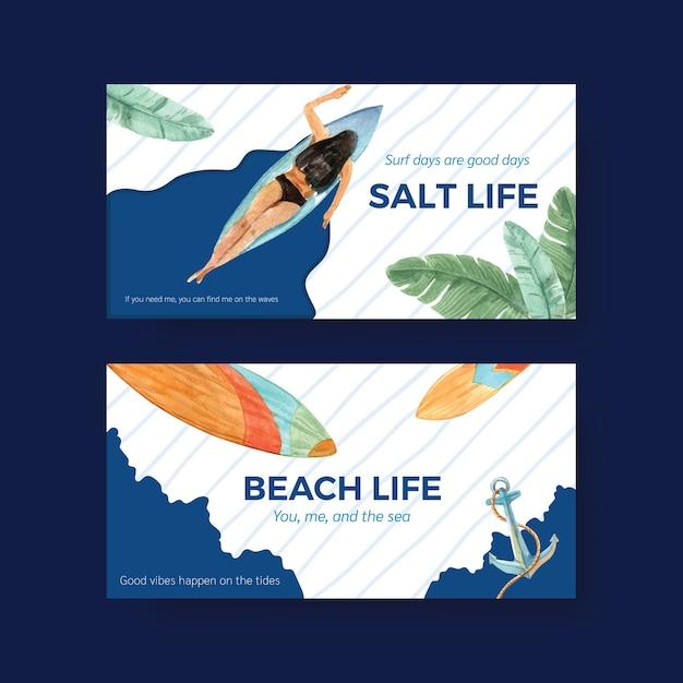 Pranchas de surf na praia design para ilustração em vetor aquarela tropical de férias de verão Vetor grátis