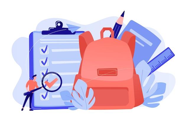 Prancheta com lista de tarefas, mochila escolar grande, régua e aluno com lupa. lista de verificação de volta às aulas, lista de artigos de papelaria, conceito de planejador escolar Vetor grátis