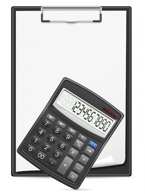 Prancheta de calculadora e folha em branco da ilustração em vetor conceito papel Vetor Premium