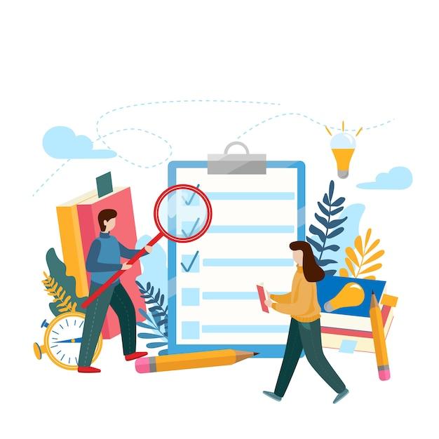 Prancheta de lista de verificação. questionário, pesquisa, lista de tarefas. Vetor Premium