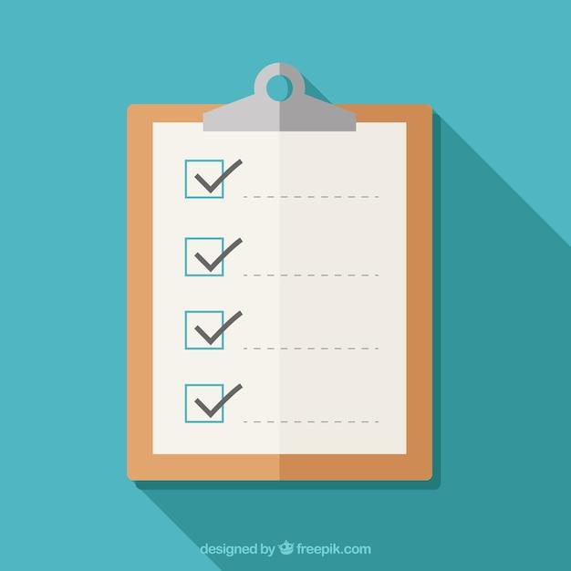 Prancheta plano com lista de verificação Vetor grátis