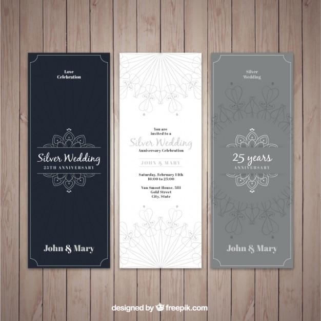 Prata convites elegantes do casamento Vetor grátis