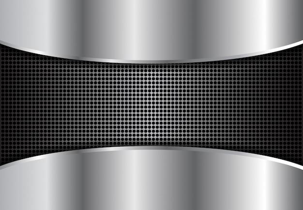 Prata de metal de fundo, prata abstrata escura Vetor Premium