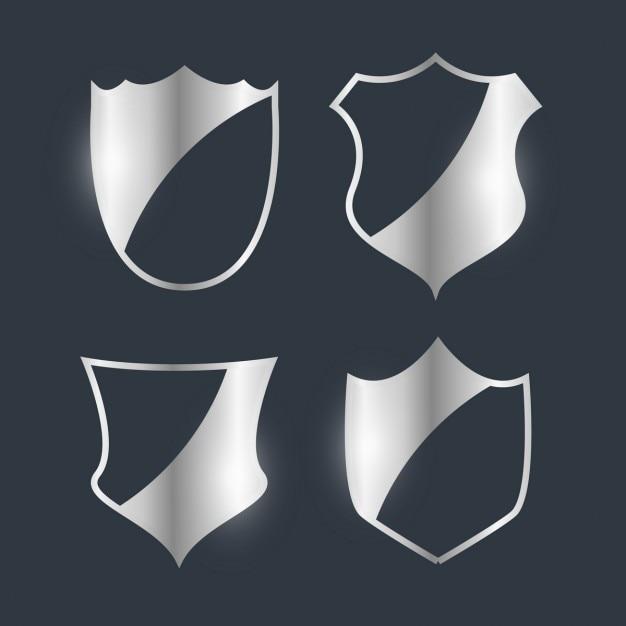 Prata emblemas emblema projeto conjunto Vetor grátis