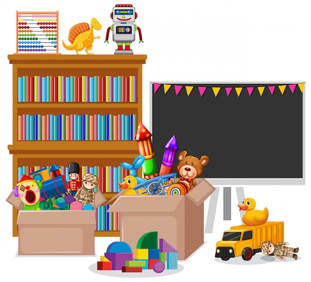 Prateleira cheia de livros e brinquedos em branco Vetor grátis