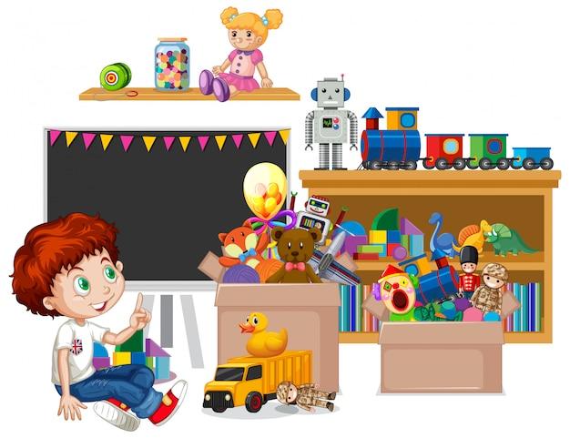 Prateleira cheia de livros e brinquedos Vetor grátis
