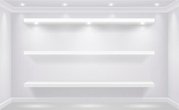 Prateleira da loja-janela para os bens brancos iluminados na perspectiva de uma parede branca da loja. gráficos vetoriais Vetor Premium