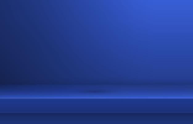Prateleira de cor azul vazia com sombra Vetor Premium