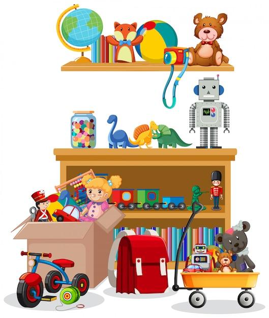 Prateleira e caixa cheia de brinquedos no fundo branco Vetor grátis
