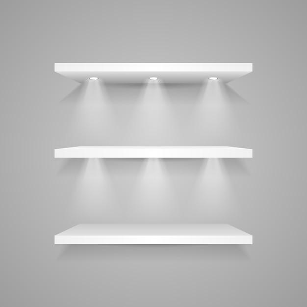 Prateleira vazia branca com holofotes Vetor Premium