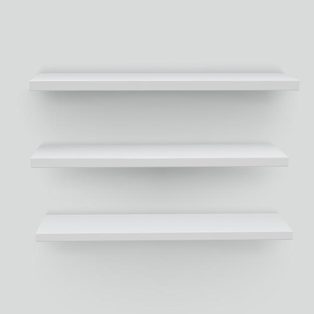 Prateleiras brancas em fundo branco Vetor Premium