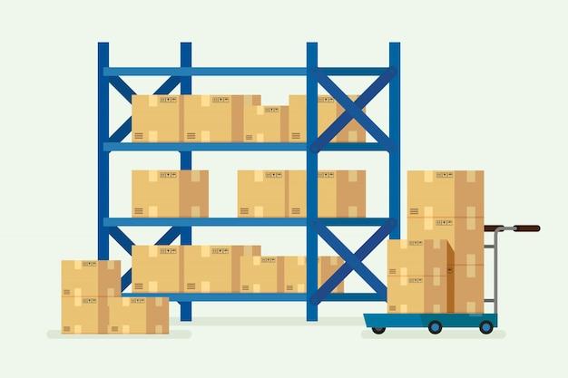 Prateleiras de armazém e caixas de papelão Vetor Premium