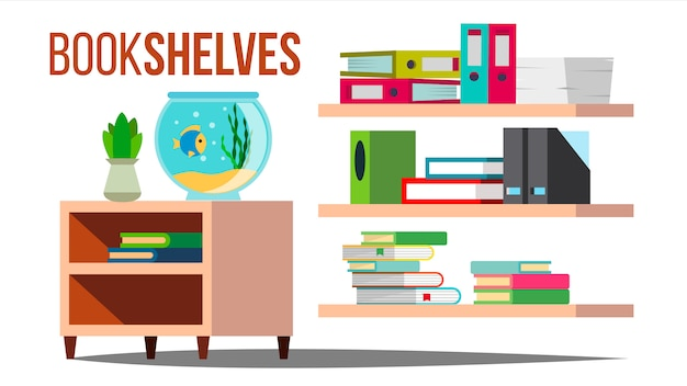 Prateleiras de armazenamento com livros e documentos Vetor Premium