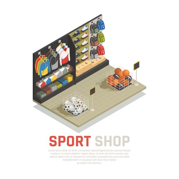 Prateleiras de composição isométrica de loja esporte com mochilas roupas e sapatos equipamentos de jogos Vetor grátis